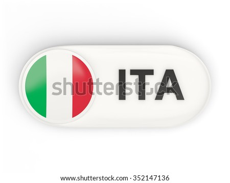 Round icon with flag of italy and ISO code - stock photo