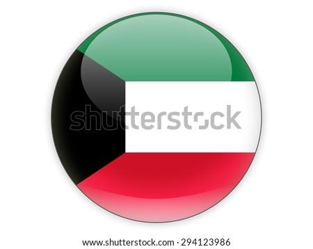 Round icon with flag of kuwait isolated on white - stock photo