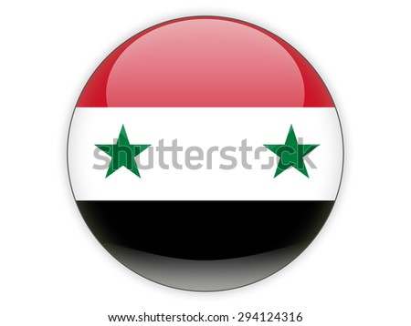 Round icon with flag of syria isolated on white - stock photo