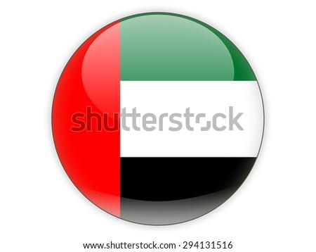 Round icon with flag of united arab emirates isolated on white - stock photo