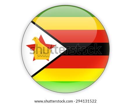 Round icon with flag of zimbabwe isolated on white - stock photo