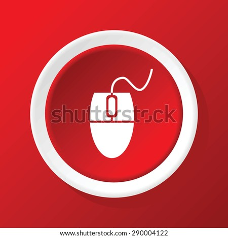 Round icon with image of computer mouse, on red background