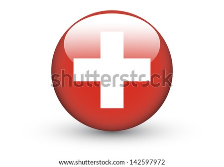 Round icon with national flag of Switzerland isolated on white background (raster illustration) - stock photo