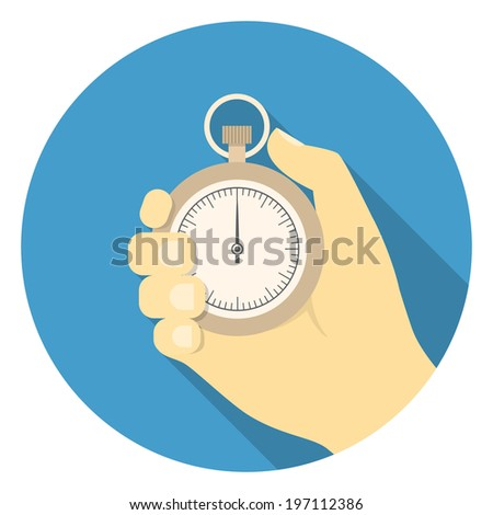 Round illustration of stopwatch in the hand in flat style - stock photo