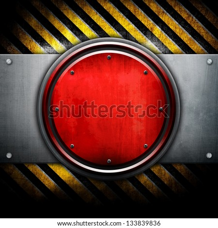 round metal plate with warning stripes
