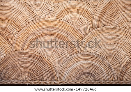Round natural wicker ornament background texture - stock photo
