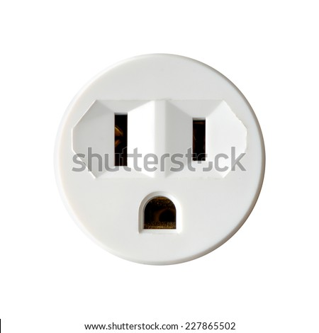Round North American Electrical Outlet Isolated on White Background - stock photo