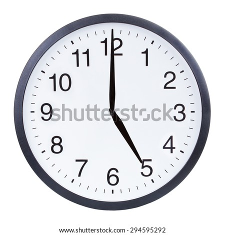 Round office clock showing five o'clock isolated on white background - stock photo