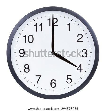 Round office clock showing four o'clock isolated on white background - stock photo
