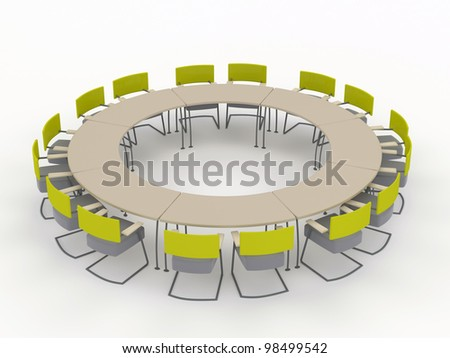 round office conference desk with chairs. isolated on a white background - stock photo