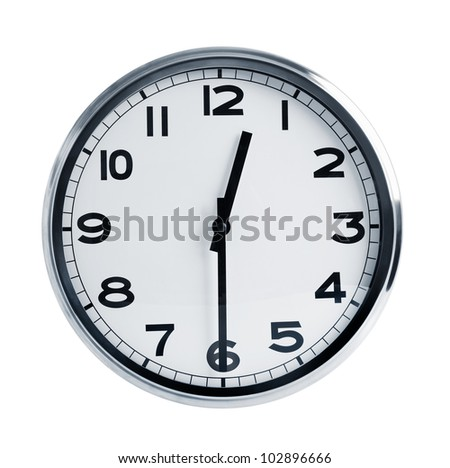 Round office hours on a white background - stock photo