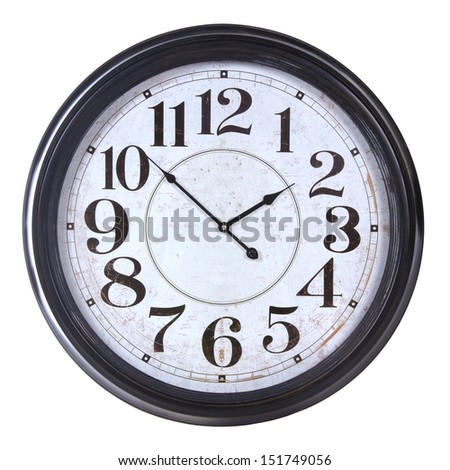 round old black wall clock isolated on white background - stock photo