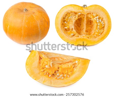 Round orange pumpkin cut in half and slice, isolated on a white background - stock photo