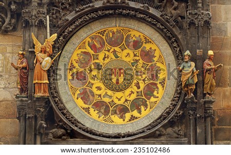 Round ornament on the astrological clock tower in Prague, Czech Republic - stock photo