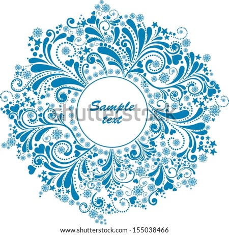 Round ornamental frame. Celebration blue background with snowflake and place for your text. Illustration  - stock photo