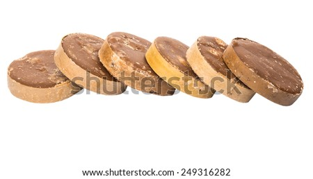 Round palm sugar over white background