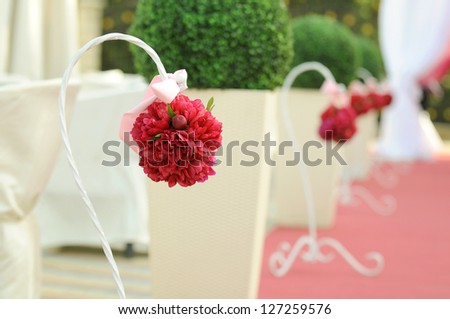 round peony bouquets at wedding ceremony - stock photo
