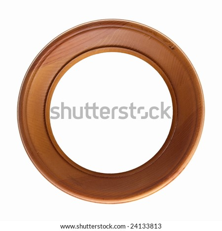 Round photo frame isolated on white background with clipping path