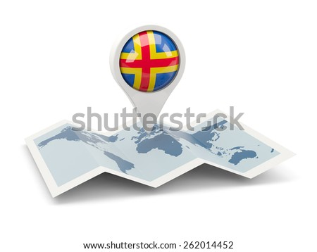 Round pin with flag of aland islands on the map - stock photo