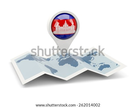 Round pin with flag of cambodia on the map - stock photo