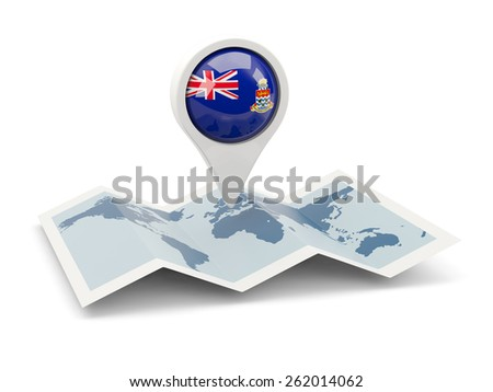 Round pin with flag of cayman islands on the map - stock photo