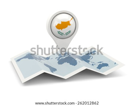 Round pin with flag of cyprus on the map - stock photo