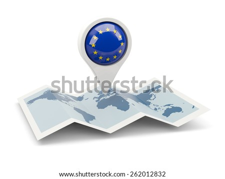 Round pin with flag of european union on the map - stock photo