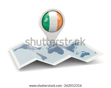 Round pin with flag of ireland on the map - stock photo