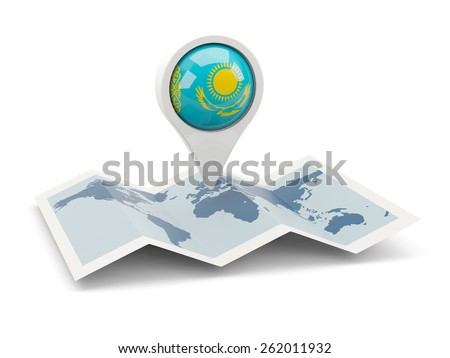 Round pin with flag of kazakhstan on the map - stock photo