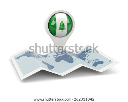 Round pin with flag of norfolk island on the map - stock photo