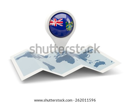 Round pin with flag of pitcairn islands on the map - stock photo