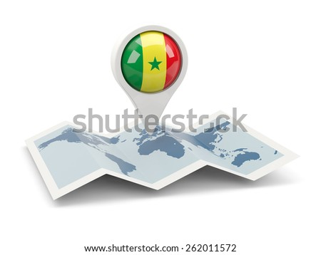 Round pin with flag of senegal on the map - stock photo