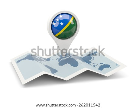 Round pin with flag of solomon islands on the map - stock photo