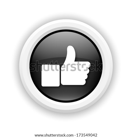 Round plastic icon with white design on black background