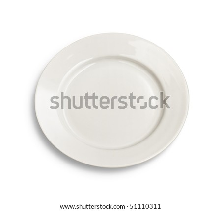 Round plate on white background isolated with clipping path included