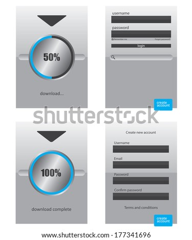 Round progress bar and register log in web element - stock photo