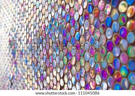 Round purple glass mosaic pattern - stock photo