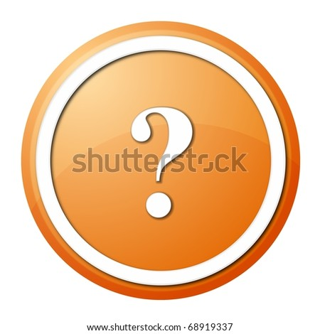 round question mark button with white ring for web design and presentation - stock photo