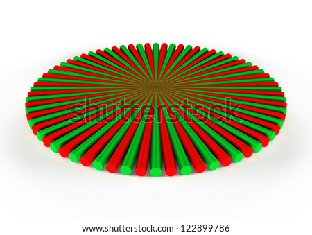 round red and green icon, 3d geometry