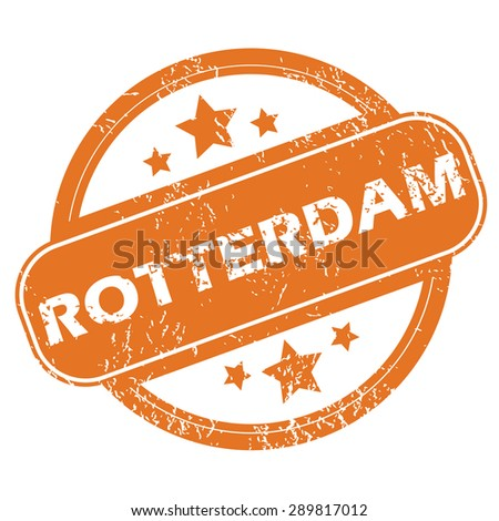 Round rubber stamp with city name Rotterdam and stars, isolated on white - stock photo