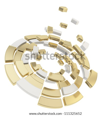 Round segmented into white and golden metal pieces circle composition defragmentation icon emblem isolated on white as abstract background - stock photo