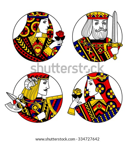Round shapes with faces of playing cards characters. Original vintage design - stock photo