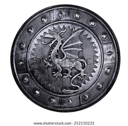 Round shield with dragon sign isolated on white background - stock photo