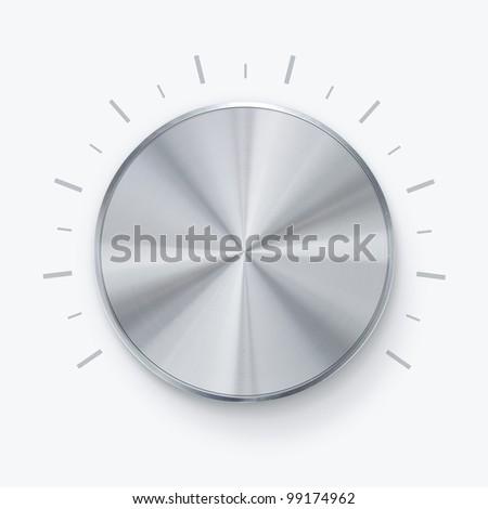 Round shiny volume knob over white background - stock photo