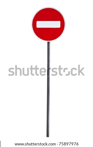 Round sign No Entry isolated on white background - stock photo