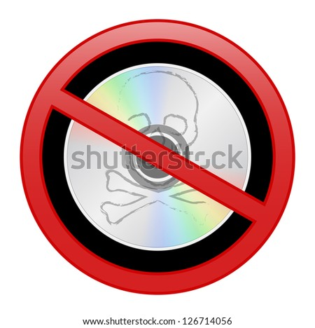 Round sign prohibiting piracy, skull and bones, black background inside - stock photo