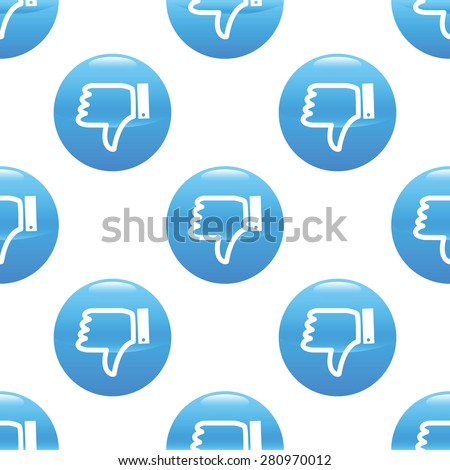Round sign with dislike symbol, repeated on white background - stock photo