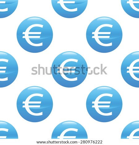 Round sign with euro symbol, repeated on white background - stock photo