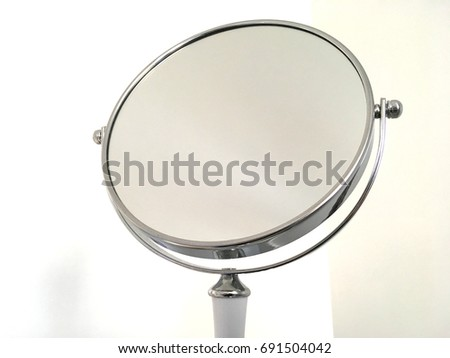 Round Silver Makeup Mirror With White Handle