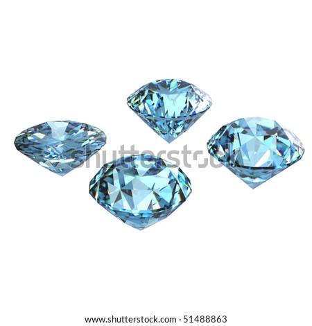 Round sky blue topaz isolated on white background. Gemstone - stock photo